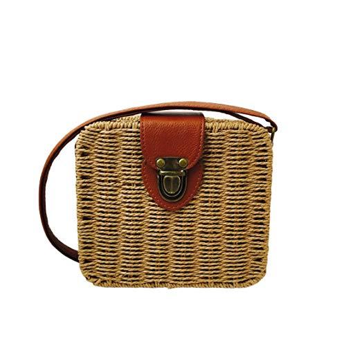 Dames Classique Forme Paille à rotin Plage Sac carrée Main à tricoté Mode Sac Vintage tissé Messenger de la Design Belle Gwendoll Sacs 5OXqEx5