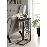 Cheap Coaster End Table in Red Brown and Antique Bronze