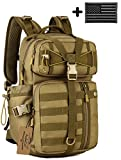 ArcEnCiel Tactical Outdoor Hydration Water Backpack Bag with Patch (Coyote Brown)