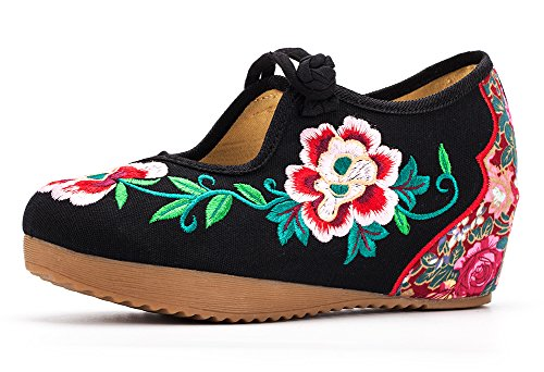 Wedge Floral Women Mary Shoes AvaCostume Jane Embroidery Platform Black IwaCEEdxq