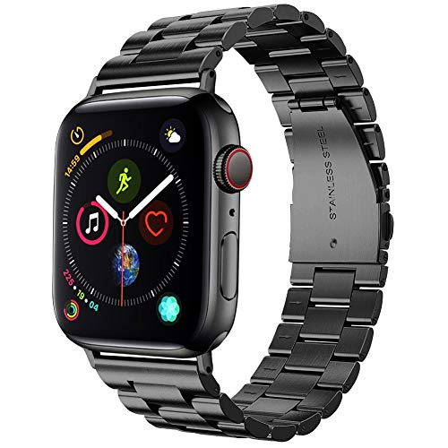 Supoix 42mm/44mm XL Large Bands Compatible with Apple Watch Series 4 44mm/Series 3/2/1 42mm,Stainless Steel Metal Link Replacement Wristbands Strap for Men-Space Black