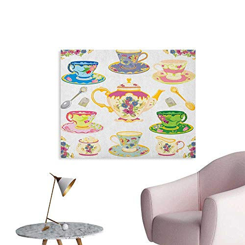 Anzhutwelve Tea Party Photographic Wallpaper Selection of Vivid Colored Teacups Pot Sugar and Floral Arrangements in Corners Art Poster Multicolor W48 xL32