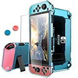 Pakesi for Nintendo Switch Case, Compatible with Nintendo Switch Cover Case and Tempered Glass Screen Protector (360 Degree Full Enclosure Protection)-Blue