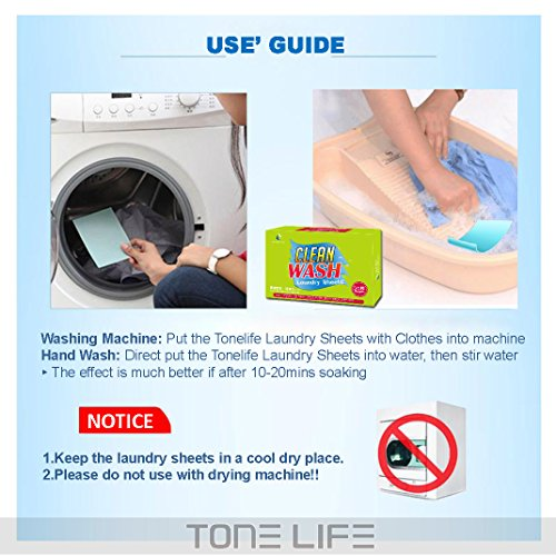 Tonelife 100 Sheets Scented Nano Technology Super Condensed Laundry Detergent Sheets 4-in-1 Laundry Pacs: Detergent, Stain Remover,Brightener.100 load Laundry Revolution by Tonelife (Image #3)