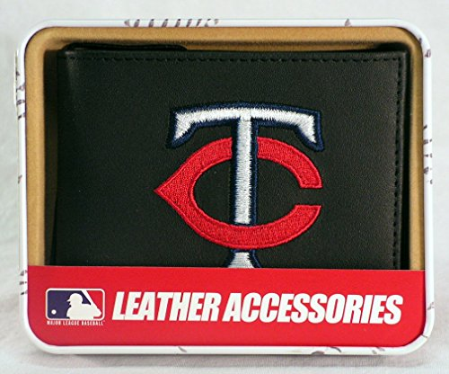 (Rico Minnesota Twins Embroidered Black Leather Bi-fold Wallet)