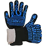 Franktech BBQ Gloves Oven Mitt,Hand Protection from Grilling,Barbeque,Fires,Microwave Oven and Other Hot Work in Kitchen,Outdoor Camping and Garden Party,Heat and Flame Resistant up to 932°F (Blue)