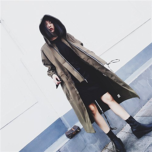 Army Jacket Cap Wind Large Xuanku Long Lesser Term With Medium Over Green The Army Green Women'S Knee To qgawZ