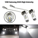 Partsquare 2x H3 64151 64156 62201 Genuine Samsung 2323 SMD 10W LED Bulb 6000K Xenon White Fog Driving DRL Light w/ Aluminum Alloy Housing