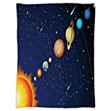 iPrint Super Soft Throw Blanket Custom Design Cozy Fleece Blanket,Space,Solar System with Sun Uranus Venus Jupiter Mars Pluto Saturn Neptune Image,Dark Blue Orange,Perfect for Couch Sofa or Bed