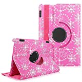 Kindle Fire HD 7' 2014 Case - Cellularvilla Pu Leather Flip Folio Book Style 360 Degree Rotating Swivel Stand Case Cover For Amazon Kindle Fire HD 7' inch 2014 4th Generation (Pink Glitter)