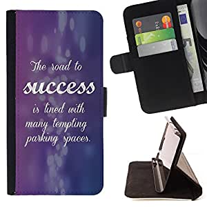 BullDog Case - FOR/Samsung Galaxy S6 EDGE / - / success cursive quote inspiring purple /- Monedero de cuero de la PU Llevar cubierta de la caja con el ID Credit Card Slots Flip funda de cuer