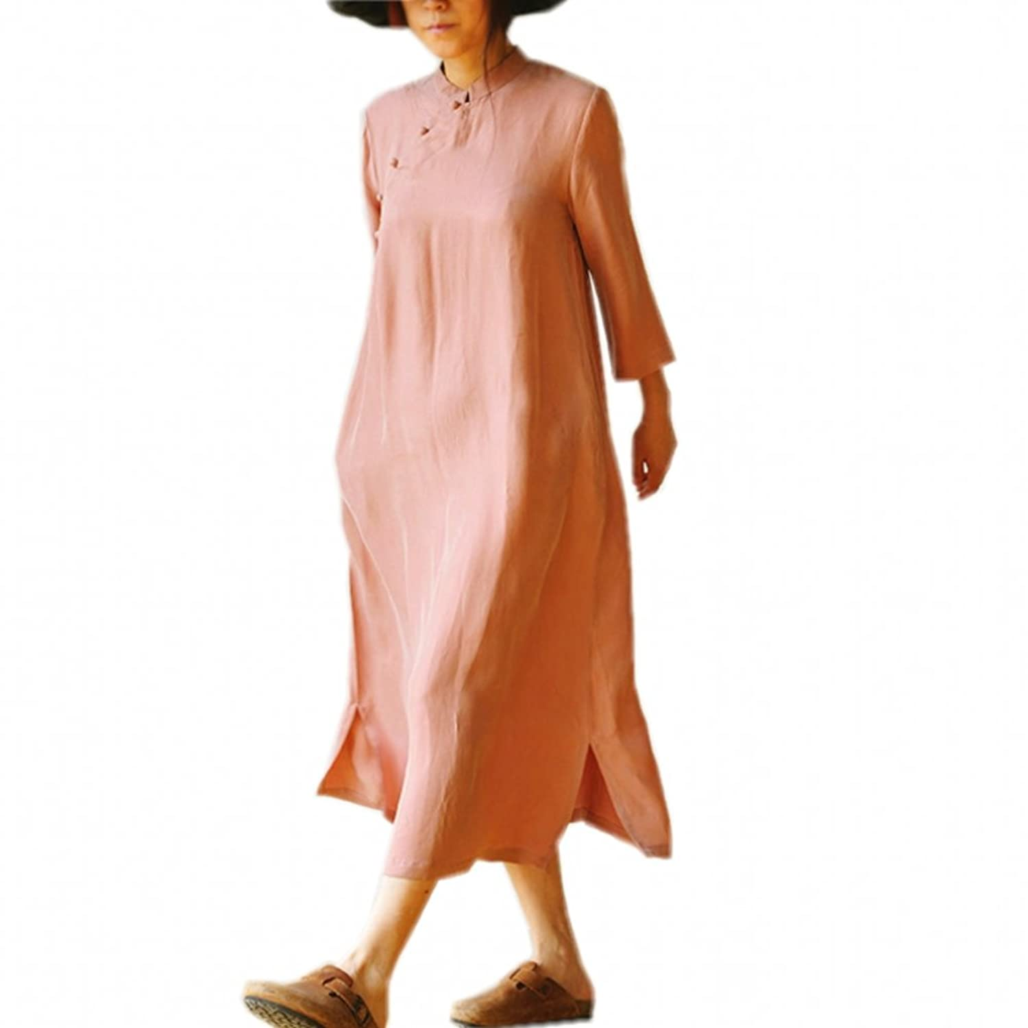 Katuo Women's Pink Cupro Silk A-linen Vintage Loose Classic Dress 3/4 Sleeve One Size