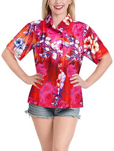 LA LEELA Women Hawaiian Shirt Lightweight Button Down Pink_A61 S - US 34-36D