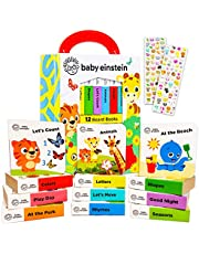 PIP Baby Einstein Board Books Set Toddlers Babies Bundle ~ Baby Einstein My First Library 12 Book Set Baby Einstein Board Book Block with Stickers (Baby Einstein Books for Infants)