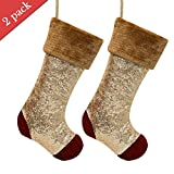 Valery Madelyn 2 Pcs 21'' Luxury Red and Gold Sequin Velvet Christmas Stocking with Fur Trim Border,Themed with Tree Skirt(Not Included)