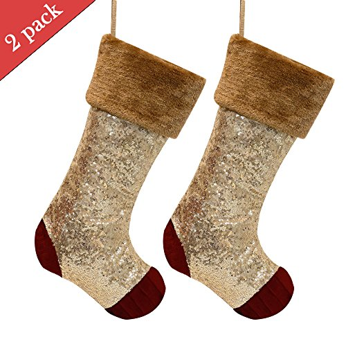 Valery Madelyn 2 Pcs 21'' Luxury Red and Gold Sequin Velvet Christmas Stocking with Fur Trim Border,Themed with Tree Skirt(Not (Red Velvet Christmas Stocking)