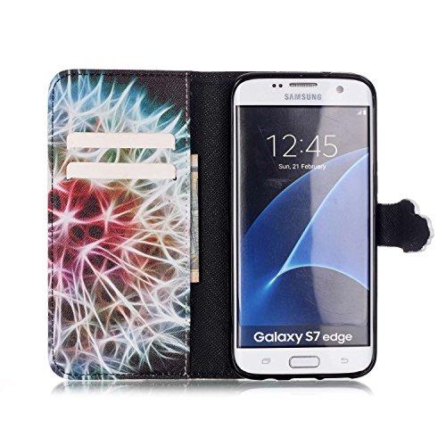 Funda para Galaxy S7 Edge, Galaxy S7 Edge Funda de PU cuero resistente, Galaxy S7 Edge Ultra Slim PU Cuero Folding Stand Flip Funda Carcasa Caso,Galaxy S7 Edge Leather Case Wallet Protector Card Holde Diente de león mitad