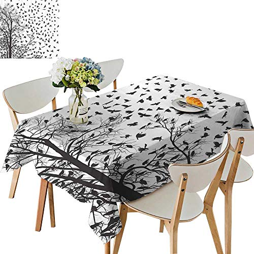 (UHOO2018 Square/Rectangle Tablecloth Waterproof Polyester Real Tree Birch Branches for Birdati Lover Natural Life ll Themed Wedding Birthday Party,52 x)
