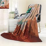 YOYI-HOME Super Soft Lightweight Duplex Printed Blanket Little Wood House on Stone Hill with Boy on The Cloudy Roof Artprint Tan Green Oversized Travel Throw Cover Blanket /W86.5 x H59