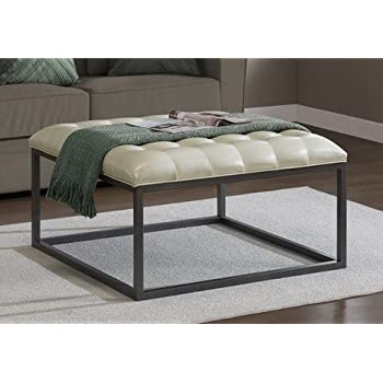 Exceptionnel Best Home Healy Cream Leather Tufted Ottoman Coffee Table