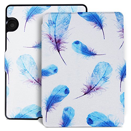 Aimerday Original Painting Smartshell Folio Kindle Voyage Case - The Thinnest and Lightest Protective PU Leather Cover for Amazon Kindle Voyage with Auto Sleep/Wake Feather