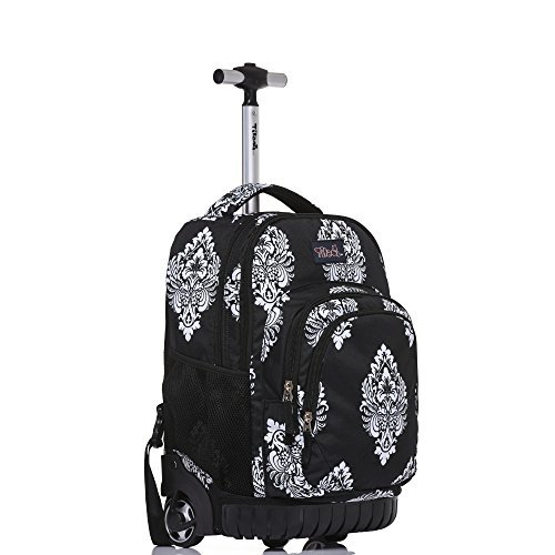 Tilami Rolling Backpack Back 18 Inch, Black