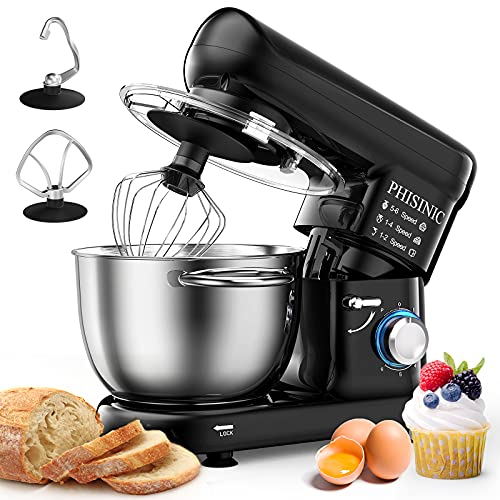 PHISINIC Stand Mixer, 5.8-QT 660W Household Stand Mixers, Tilt-Head Food & Dough Mixer, 6-Speed Kitchen Electric Mixer with Dough Hook, Wire Whip and Beater, for Baking, Cake, Cookie, Kneading (Black)