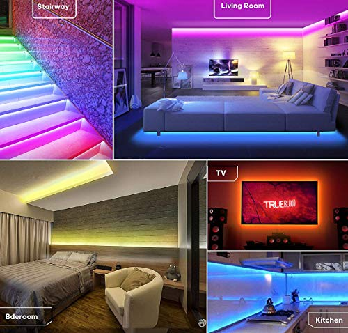 YIPBOWPT Led Strip Light Waterproof 32.8ft RGB SMD 5050 600leds Led Rope Light Color Changing Full Kit with 44 Keys IR Remote Control+24V Power Supply Led Lighting for Kitchen Indoor by YIPBOWPT (Image #4)