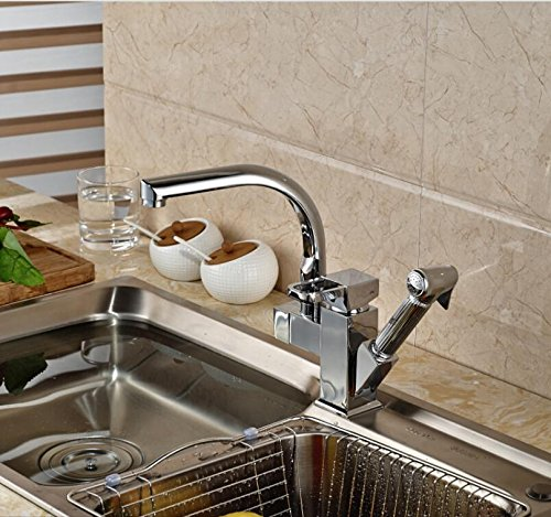 LH@ Luxury Deck Mounted Brass Kitchen Faucet Vessel Sink Mixer Tap Single Handle Chrome Finished ()