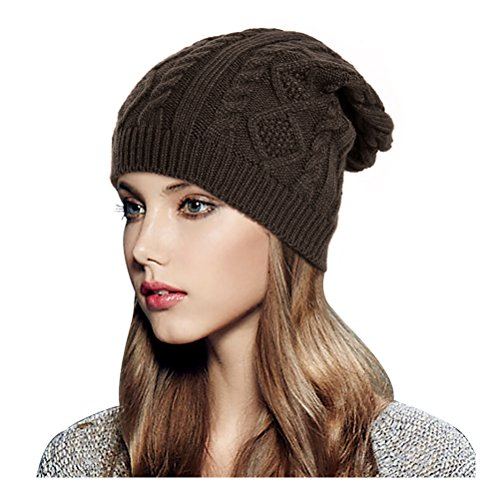 Glamorstar Women Cable Knit Beanie Winter Warm Crochet Hats Chunky Stretch Ski Cap