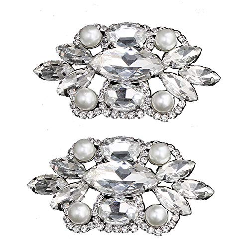 (Yamalans Exquisite Women's Rhinestone Faux Pearl Shoe Charm Clip Bridal Wedding Party Women High Heel Jewelry Decor Silver 6.5cm x)