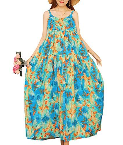 YESNO Women Casual Loose Bohemian Floral Print Empire Waist Spaghetti Strap Long Maxi Summer Beach Swing Dress E75 (XL, E75 54)