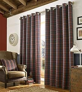 "Tartán Compruebe Denim azul rojo tejido con forro 66""x 54""-168cm x 137cm con anillas cortinas"