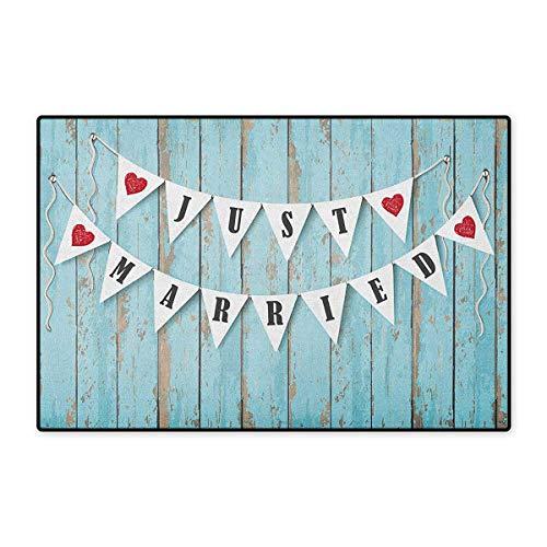 (Wedding,Door Mat Non Slip,Just Married Letters on Triangular Flags Hanged on Blue Wooden Door Art Print,Floor Mat for Tub,Blue Black Red,Size,32