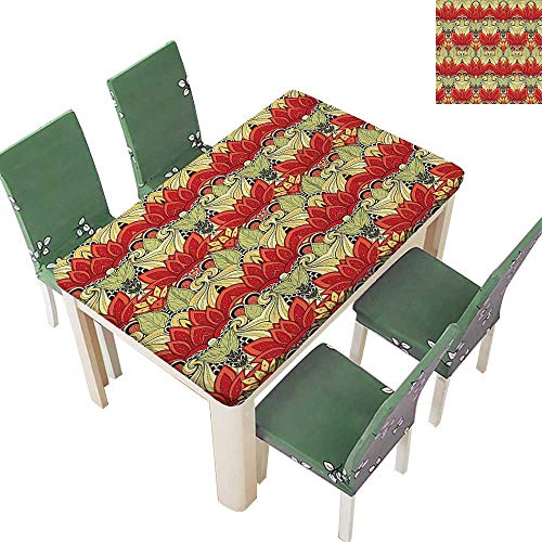 Printsonne Solid Tablecloth Asian Batik Blooms Motif in Colors Ornate Nature Inspired Floral Table Cover 54 x 72 Inch