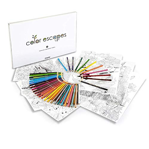 Crayola Color Escapes Coloring Pages & Pencil Kit, Garden Edition, 12 Premium Pages by renowned artist Claudia Nice, 12 Watercolor Pencils, 50 Colored Pencils, Adult Coloring, Art Activity Set ()