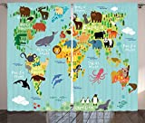 Ambesonne Wanderlust Decor Curtains, Animal Map Of The World For Children And Kids Cartoon Mountains Forests, Living Room Bedroom Decor, 2 Panel Set, 108 W X 84 L Inches