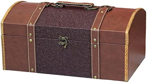 Vintiquewise TM 15 Inch Leather Trunk