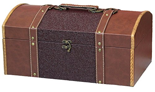 Vintiquewise TM 15 Inch Leather Trunk, Designer Treasure Chest (Cardinal) by Vintiquewise
