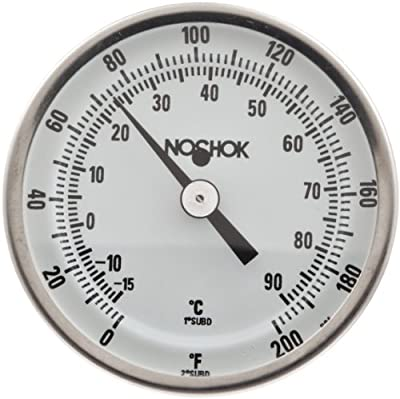 "NOSHOK 100 Series 304 Stainless Steel Dual Scale Bi Metal Thermometer with Back Mount, 4"" Stem, 1/2"" NPT Connection, 3"" Dial, 0-140 F Temperature Range"