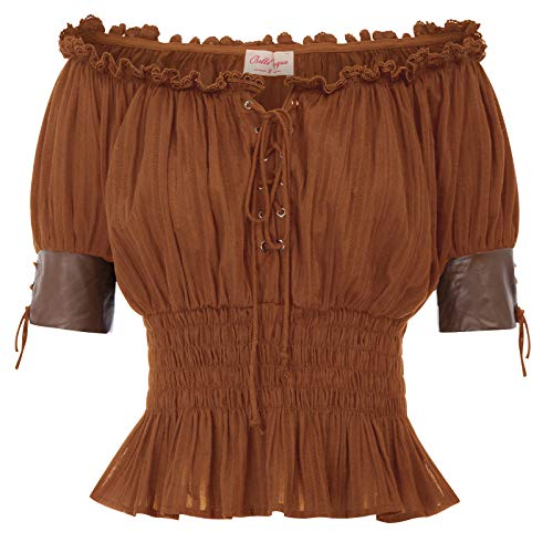 Steampunk Renaissance Blouses Shirts Top Half Sleeve Pirate Shirt Women 2XL Brown -