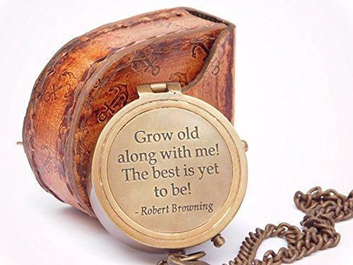 Neovivid Grow Old with ME Engraved Brass Compass ON Chain with Leather CASE, Directional Magnetic Compass