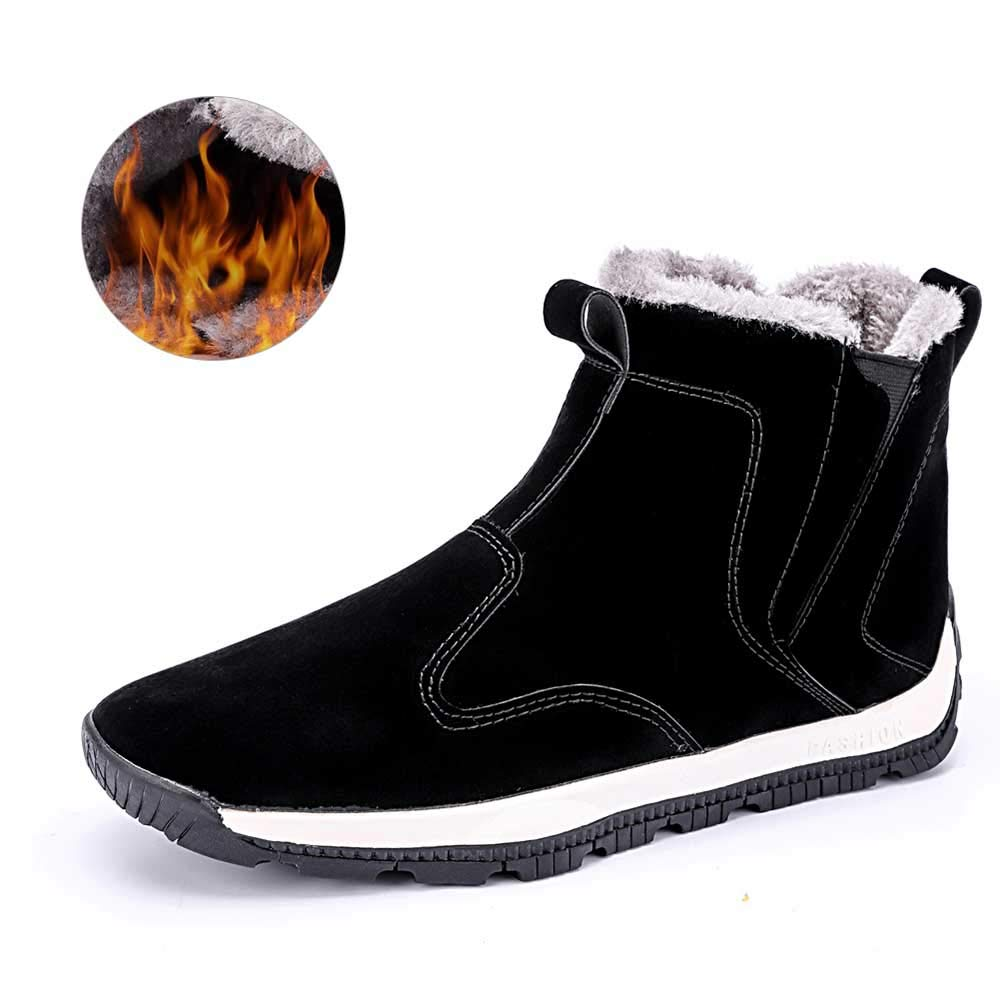MARITONY Snow Boots Sneakers for Men, Waterproof Winter Warm Anti-Skid Ankle Outdoor High Top Chukka Shoes