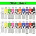 AreTop 20pcs 4GB USB 2.0 Flash Drive Memory stick Fold Storage Thumb Stick Pen Swivel Design (Multi-colour) by AreTop