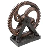 Cheap Industrial Style Rusted Poly-Stone Gear Decor Sculpture