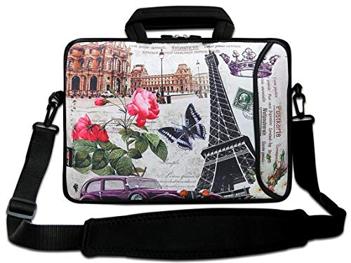 "AUPET 16 16.5"" 17""-17.3-Inch Water Resistant Neoprene Sleeve Notebook Neoprene Messenger Case Tote Bag with Outside Handle and Adjustable Shoulder Strap & Extra Pocket(Butterfly and Flower)"