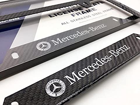 Mercedes-Benz MB Mercedes Benz AMG Logo Emblem Full Carbon Fiber License Plate Frame (AP Creations Exclusive) Gloss Finish CF Carbon Weave