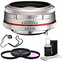 Pentax HD Pentax DA 70mm f/2.4 Limited Lens (Silver) + 3 Piece Filter Kit + Deluxe 3pc Lens Cleaning Kit + Lens Cap Keeper 6AVE Bundle