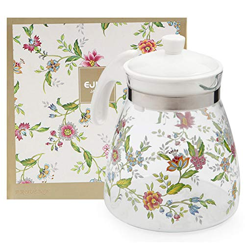 - Ejiry Floral Glass Teakettle Borosilicate Glass Tea Pot, Stovetop Safe, Clear, 1.6QT/1.6L