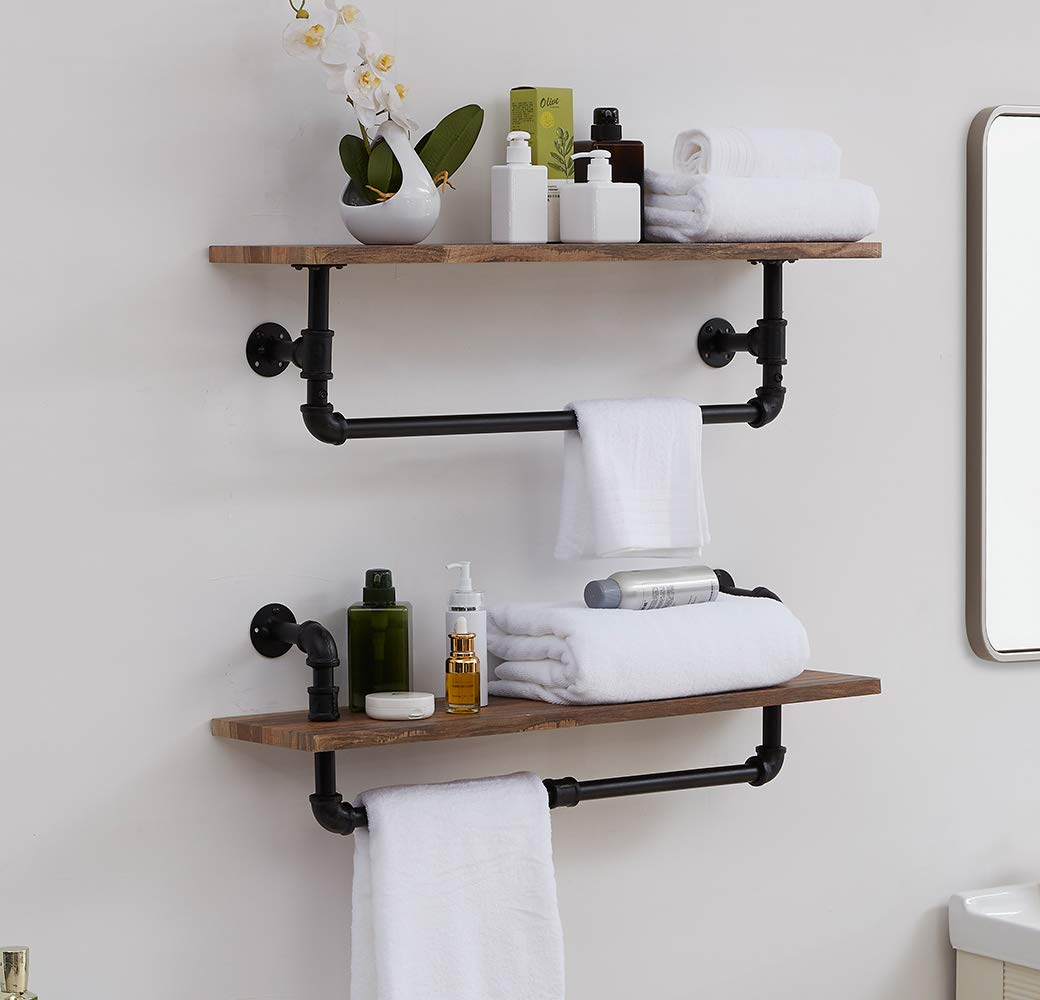 Homissue Industrial Pipe Wall Shelving with Tower Bar, Rustic Floating Wall Shelf Towel Racks for Bathroom, Retro Brown, Set of 2